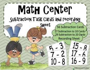 Math Center: Subtraction Task Cards - Subtraction to 20