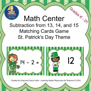 Math Center Subtraction from13, 14, and 15 Matching Cards, St. Patrick's  Day