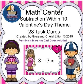 Math Center, Subtraction within 10, St. Valentine's Day Theme