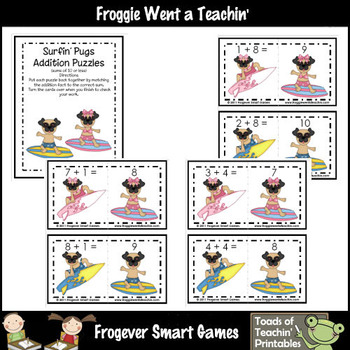 Math Center -- Surfin' Pugs Addition Puzzles (sums to 10)