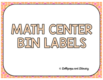 Math Center / Task Card Bins