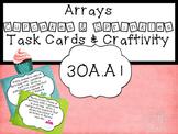 Math Center Task Cards Arrays and Craftivity 3OA.A1 Common Core Math