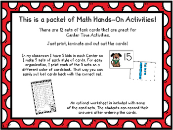 Math Center Task Cards - Dog Theme - 12 Different Types of cards - 1st Grade