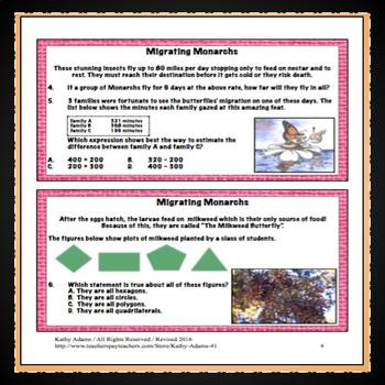 Monarch Butterflies Math Task Cards