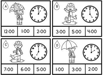 Math Center Telling Time to the Hour and Half Hour Rainy Day Spring