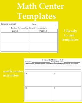 Math Center Templates