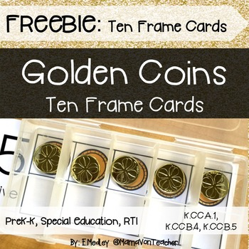 Math Center: Ten Frame Cards, Gold Coins, 0-10
