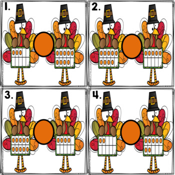 Math Center: Thanksgiving Turkey Inequality Ten Frames