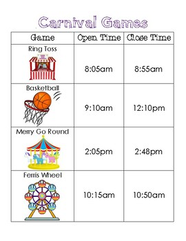 Math Center Time - Carnival Themed