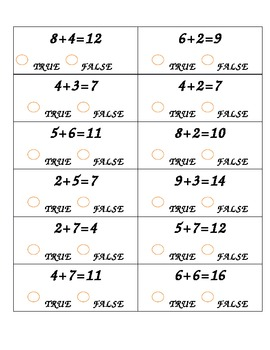 Math Center: True or False Addition Equations