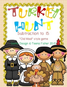 Math Center Turkey Hunt Subtraction to 15 Thankgiving