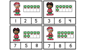 Math Center Using Ten Frames Counting and Cardinality  Christmas Theme