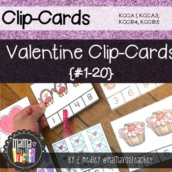 Math Center: Valentine Clip Cards, Numbers 1-20 with Recording Sheets