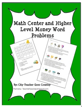 Math Center- Value of Coins & Money Word Problems