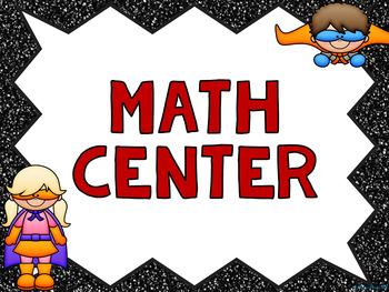 Math Center Vocabulary Cards Superhero Theme (Mathematical Language Cards)