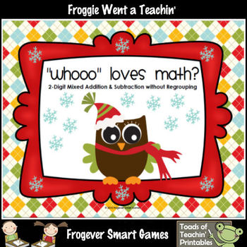 """2-Digit Mixed Addition/Subtraction--""""Whooo"""" Loves Math?"""