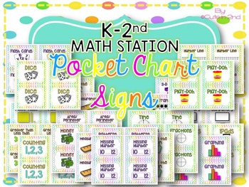 Math Center Work Area Pocket Chart Signs