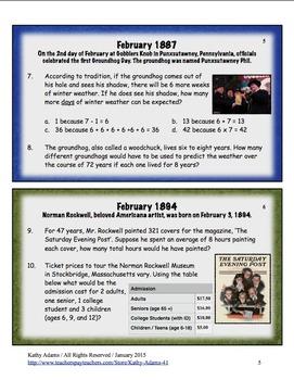 Math Word Problems February Grades 3-4