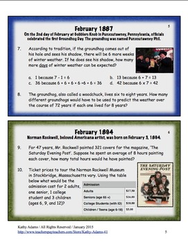 Math Word Problems February Grades 3-4