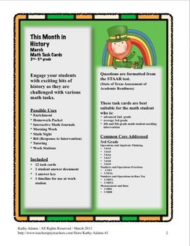 Math Word Problems March Grades 3-4