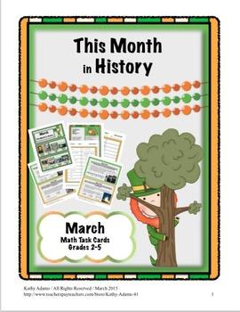Math Task Cards March Grades 3-4