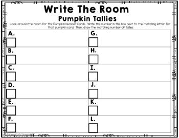 Math Center: Write The Room Pumpkin Tallies