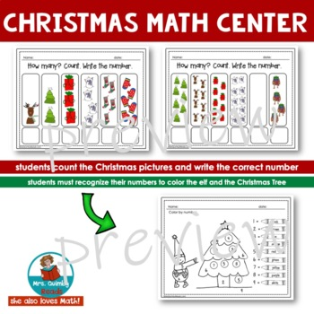 Numbers and Counting - Math Center - Write and Spin- Christmas