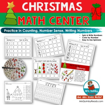 Numbers and Counting | Math Center | Write and Spin | Christmas