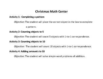 Math Center for Christmas