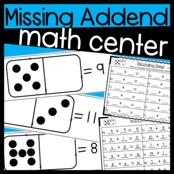 Math Center for Missing Addends! Domino Visual with Dots