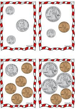 "Math Center: ""the price tags"" using coins -1st & 2nd grade - Christmas presents"
