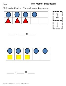 Math Centers or Bell Ringers 10 Frame Shapes Add & Subtract