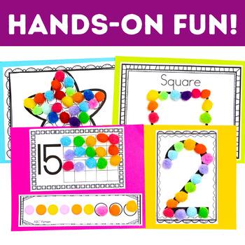 Math Centers - 12 Pom Pom Math Centers