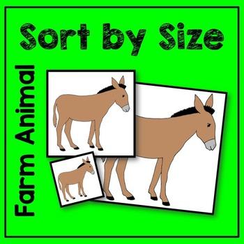 Farm Animal Sort by Size Math Center