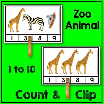Zoo Animal Count and Clip Math Center