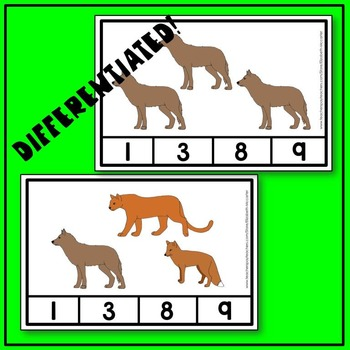 Woodland Animal Count and Clip Math Center