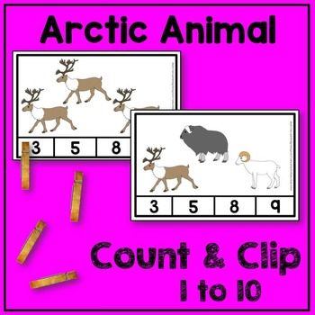 Arctic Animal Count and Clip Math Center
