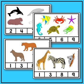 Animal Count and Clip Math BUNDLE (arctic, farm, ocean, woodland, zoo animals)