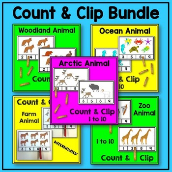 Animal Count and Clip Math BUNDLE (arctic, farm, ocean, woodland, zoo animals)