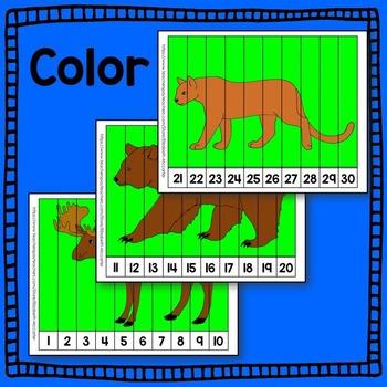 Woodland Animal Number Puzzle Math Center