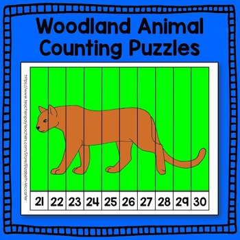 Woodland Animal Number Puzzle Math Center