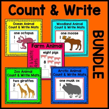 Animal Count and Write (arctic, farm, ocean, woodland, zoo) Math Center BUNDLE