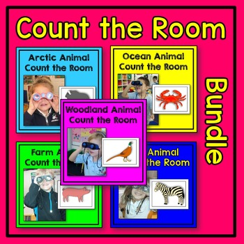 Animal Count the Room Math Center BUNDLE (arctic, farm, ocean, woodland, zoo)