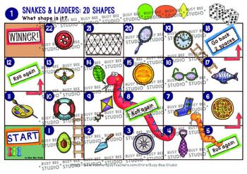 "Math Centers | 2D Shapes Game ""Snakes and Ladders"""