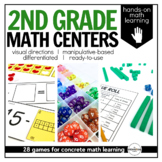 Math Centers {2nd Grade} 28 Centers, Labels, and Visual Di