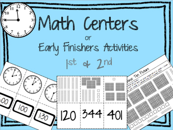 Math Centers - 2nd Grade - Time, Base Ten, Place Value, Te