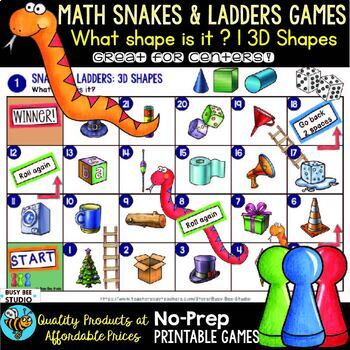 "Math Centers | 3D Shapes Game ""Snakes and Ladders"""