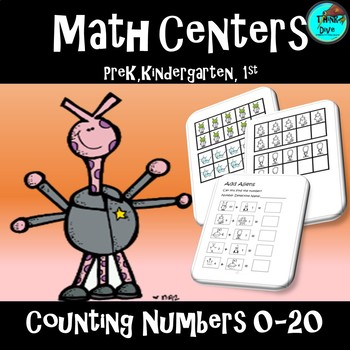 Math Centers Activity Counting Numbers 0-20 - Alien Theme