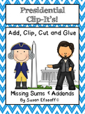 Math Centers - Add, Clip and Glue - President's Day themed