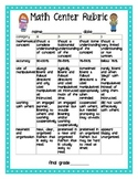 Math Centers Assessment Rubric